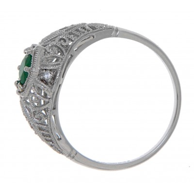 Emerald Filigree Ring Art Deco Style w/ 4 Diamonds - 14kt White Gold