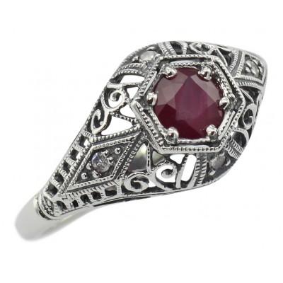 Ruby Art Deco Style Diamond Filigree Ring - 14kt White Gold