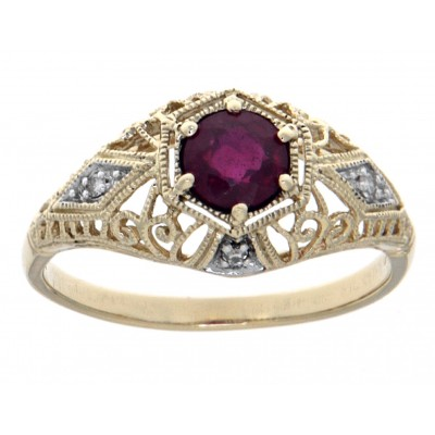 Ruby Art Deco Style Diamond Filigree Ring - 14kt Yellow Gold
