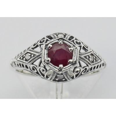 Ruby Filigree Ring Art Deco Style w/ 4 Diamonds - Sterling Silver