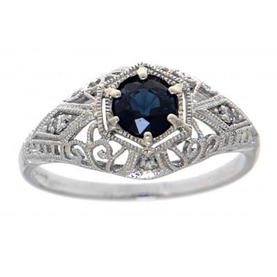 Art Deco Style Sapphire Filigree Ring w/ 4 Diamonds 14kt White Gold