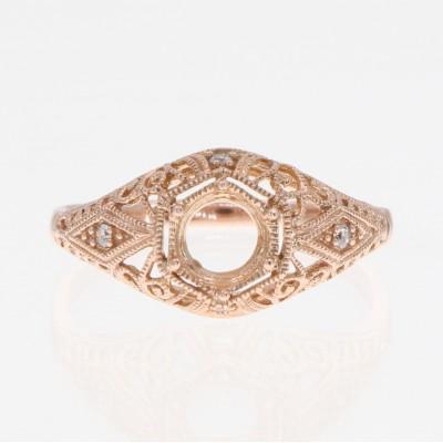 Semi Mount Art Deco Diamond Filigree Ring - 14kt Yellow Gold