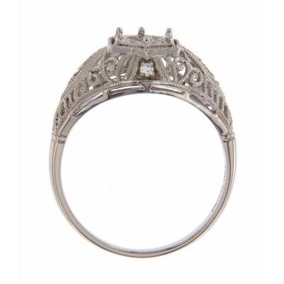 Semi Mount Art Deco Diamond Filigree Ring - 14kt White Gold