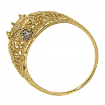 Semi Mount Art Deco Diamond Filigree Ring - 14kt Yellow Gold