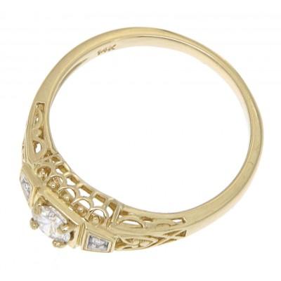 1/4 Carat Diamond Art Deco Style 14kt Yellow Gold Filigree Ring w/ 2 Diamonds