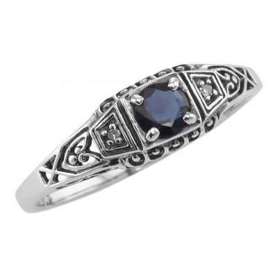 Sapphire Filigree Ring w/ 2 Diamonds - Sterling Silver