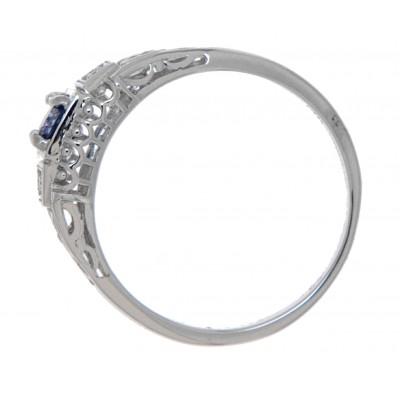14kt White Gold Blue Sapphire Filigree Ring w/ 2 Diamond Accents