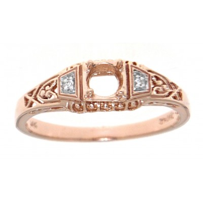 Semi Mount Art Deco Style 14kt Rose Gold Filigree Ring w/ 2 Diamonds
