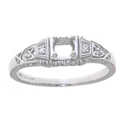 Semi Mount Art Deco Style 14kt White Gold Filigree Ring w/ 2 Diamonds