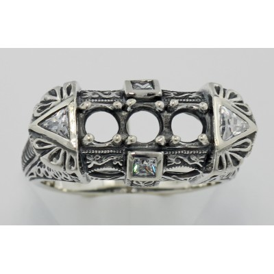 Art Deco Style Semi Mount Sterling Silver Filigree Ring w/ CZ Accents