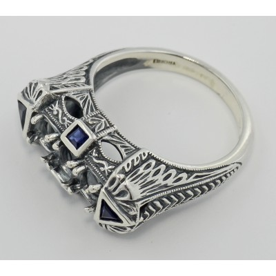 Art Deco Style Semi Mount Ring Sapphire Accents - Sterling Silver