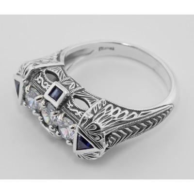 Art Deco Style White Topaz Sterling Silver Filigree Ring