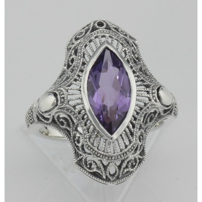Art Deco Style Genuine Amethyst Filigree Ring - Sterling Silver