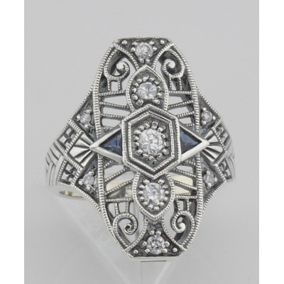 Art Deco Style CZ / Genuine Sapphire Filigree Ring - Sterling Silver