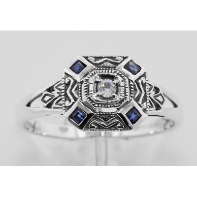 Sapphire  White Topaz Filigree Ring - Art Deco Style - Sterling Silver