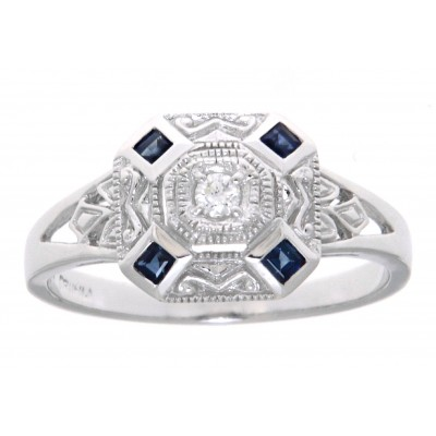 14kt White Gold Sapphire  Diamond Filigree Ring - Art Deco Style
