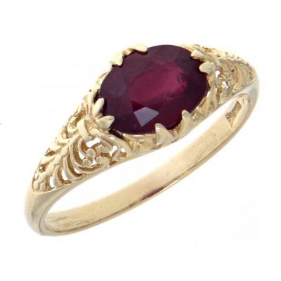 14kt Yellow Gold Ruby Filigree Ring