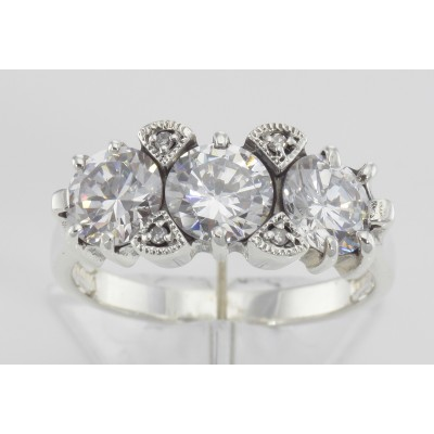 Lovely Art Deco Style 3 Stone White Topaz and Diamond Ring - Sterling Silver