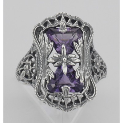 Art Deco Style Amethyst Filigree Ring with Flower Design - Sterling Silver