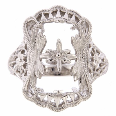 Antique Victorian Style Filigree Ring Flower Design Semi Mount 14kt White Gold