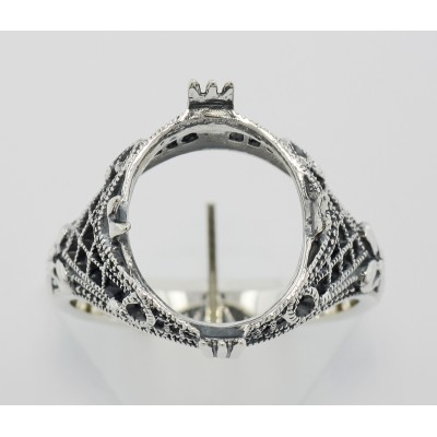 Art Deco Semi Mount Filigree Ring will hold 11x14mm - Sterling Silver