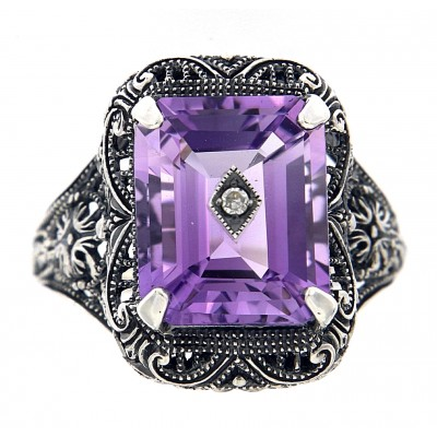 Art Deco Style Amethyst and Diamond Ring - Sterling Silver