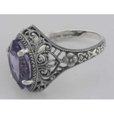Victorian Style Amethyst Filigree Ring Sterling Silver