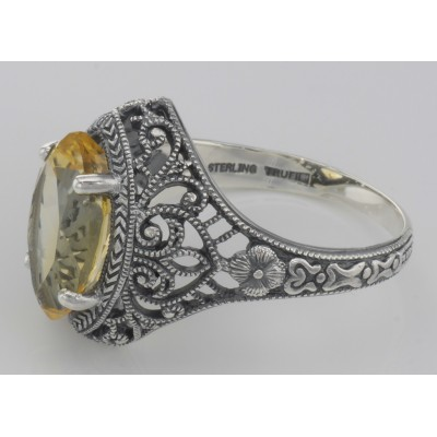 Beautiful 3 Carat Victorian Style Genuine Citrine Filigree Ring Sterling Silver