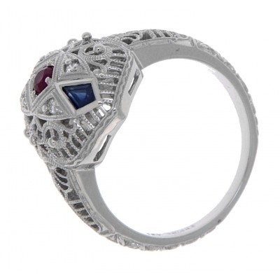 Art Deco Style Ruby Diamond and Sapphire Filigree Ring 14kt White Gold