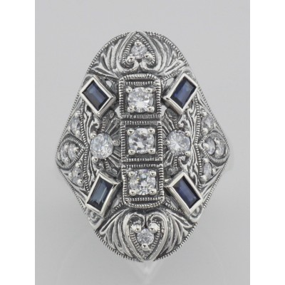 White Topaz and Sapphire Filigree Ring - Art Deco Style - Sterling Silver