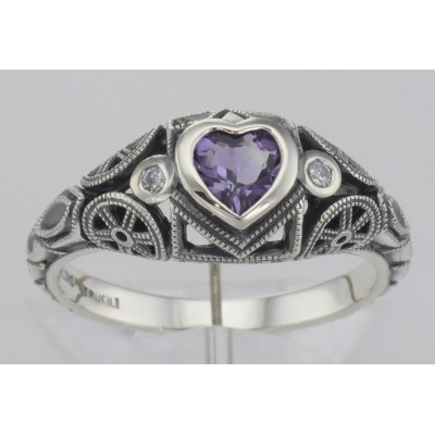 Victorian Style Heart Shaped Amethyst  White Topaz Ring Sterling Silver