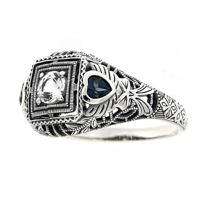 Art Deco Style White Topaz Filigree Ring Blue Topaz Accents - Sterling Silver