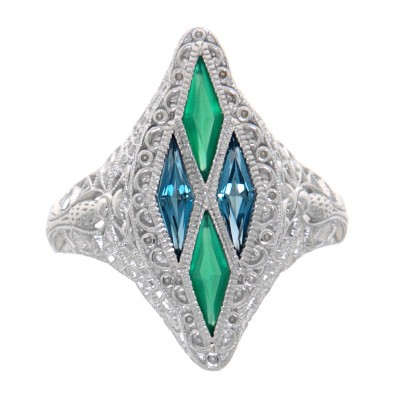 14kt White Gold Art Deco Style Ring with London Blue Topaz Green Chalcedony