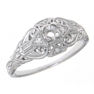 14kt White Gold Art Deco Style Semi Mount Filigree Ring Sapphire accents 3mm