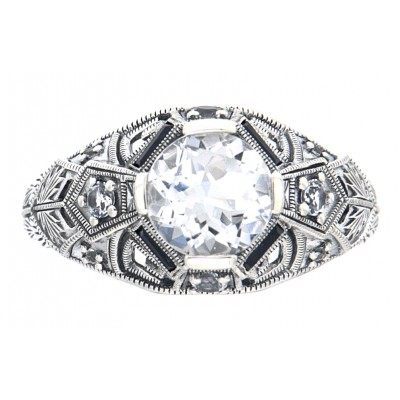 Art Deco Style White Topaz Filigree Ring w/ Blue Sapphire, White Topaz Accents - Sterling Silver