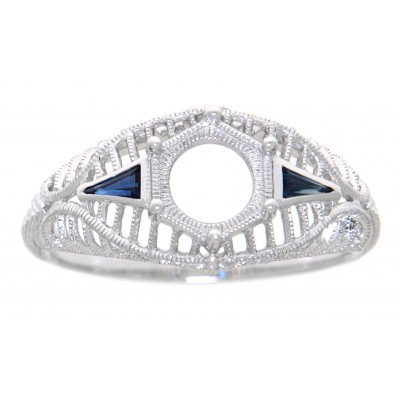 Art Deco Style Semi Mount Filigree Ring w/ Blue Sapphire Accents - 14kt White Gold