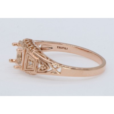 5mm Semi Mount Art Deco Style 14kt Rose Gold Filigree Ring w/ 2 Diamonds
