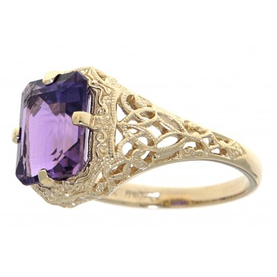 2 1/2 Carat Amethyst Filigree Ring - 14kt Yellow Gold