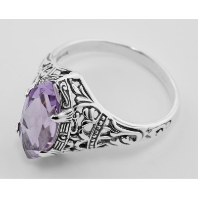 Antique Style Amethyst Filigree Ring - Sterling Silver