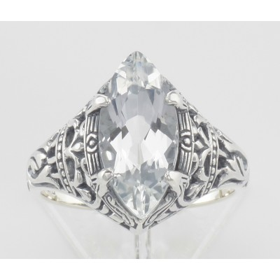 Victorian Style White Topaz Filigree Ring - Sterling Silver