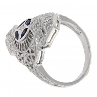 Art Deco Filigree Ring White Topaz Blue Sapphire Accents Sterling Silver