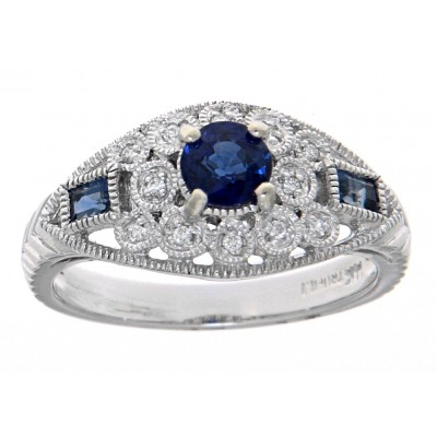 Art Deco Style Filigree Blue Sapphire and Diamond Ring 14kt White Gold