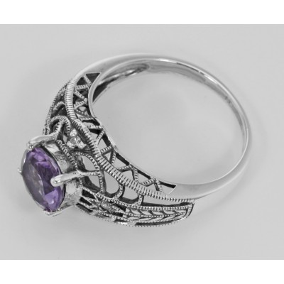 Art Deco Style Amethyst Filigree Ring with Four Diamonds Sterling 925