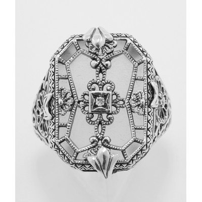 Victorian Style Camphor Glass Crystal w/ Diamond Filigree Ring - Sterling Silver