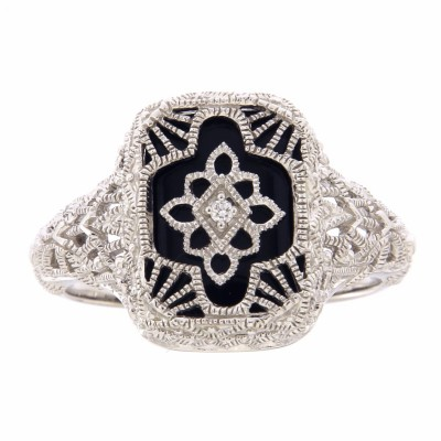 Victorian Style Black Onyx Filigree Diamond Ring in Fine 14kt White Gold