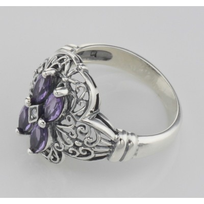 Antique Style Four Stone Amethyst  Diamond Filigree Ring Sterling Silver