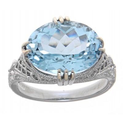 Victorian Style 14kt White Gold 8.9 Carat Genuine Blue Topaz Filigree Ring