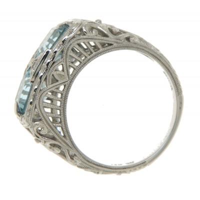 Antique Style 2 Stone Blue Topaz Filigree Ring 14kt White Gold