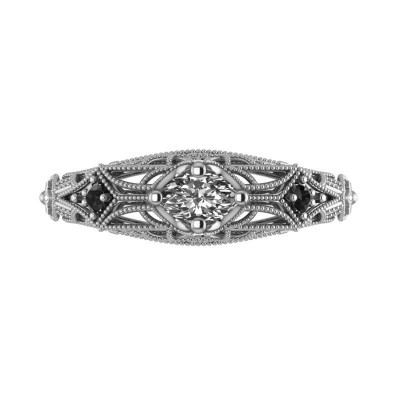 Custom Semi Mount Filigree Ring with Sapphire Gems - Sterling Silver