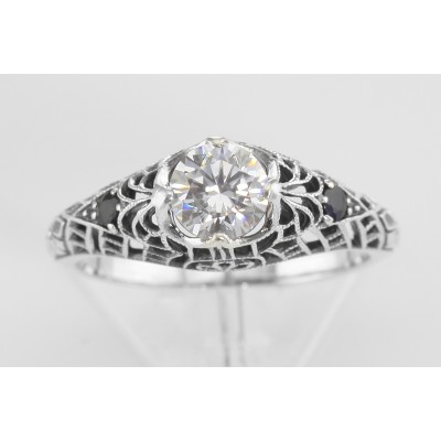 White Topaz Filigree Ring with Genuine Sapphire Accents Sterling Silver
